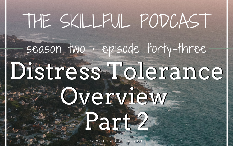 """A graphic that reads """"The Skillful Podcast Season 2 Episode 43: Distress Tolerance Overview Part 2"""" over a photo of the coastline of Northern California."""